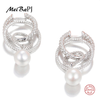 [MeiBaPJ]Genuine 925 Sterling Silver Stud Earrings for Women Fashion & Classic Style Brand Fine Pearl Jewelry