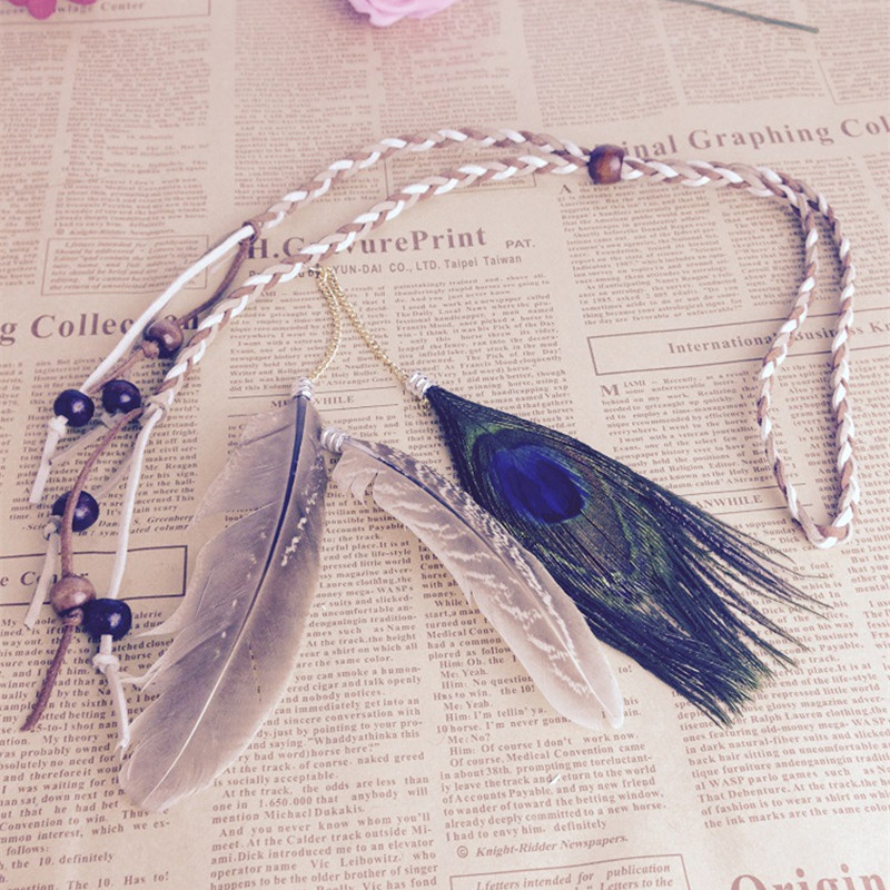 1PC Boho Feather Indians Headband Head piece Natural Brown Stone Hair Band Purple Feather Wedding Tiara Head Chain Hair Jewelry