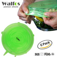 2016 Walfos 6 pieces reusable kitchen tools bowl cover pan lid -Premium stretch silicone lids- stretch silicone bowl lid