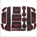 Alta calidad case para MITSUBISHI Outlander 2013 2014 14 unids/lote puerta goma pad ranura estera de la taza / accesorios interiores del coche