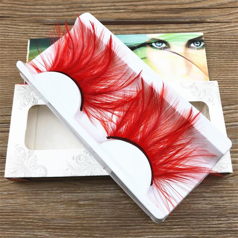 1 Pairs Thick Lashes End Of Eye Lengthened Red Feather Exaggerated False Eyelashes Stage Make-up Essential New YM116