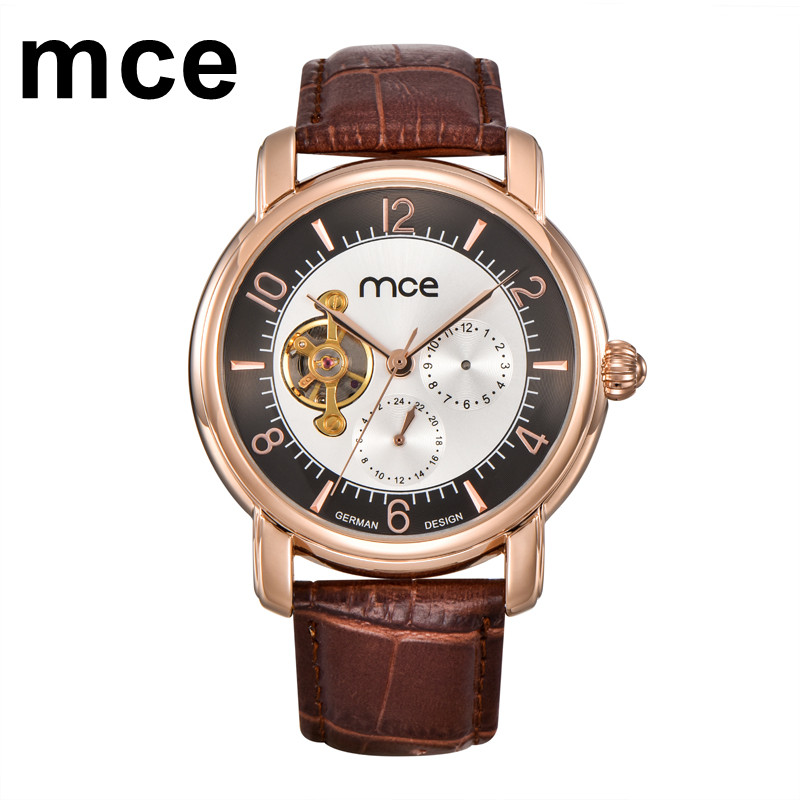 mce Luxury Automatic Watch Mens Mechanical Brand Skeleton Leather Sport Watches for Men Business Relogio Masculino de Luxo