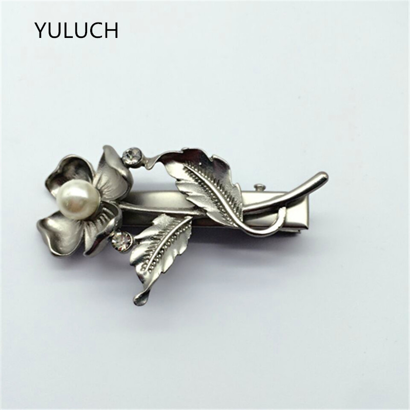new arrival cheap A word hairpin clamp pearl leaf silver top clip