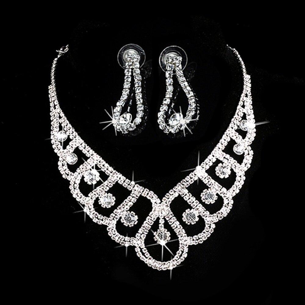 Moda de nova Prata Conjuntos De Jóias de Cristal Nupcial Do Casamento Prom Jóias Colar de Strass Brincos # Y51 #