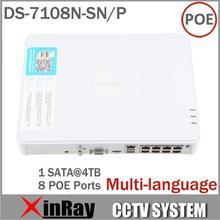 Promoción grande más nueva Multi-language DS-7108N-SN / P Plug & Play 8CH PoE NVR para HD cámara IP con 8 PoE independiente