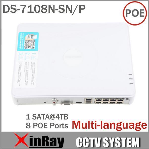 Promoción grande Más Nuevo Multi-idioma DS-7108N-SN/P Plug & Play 8CH PoE NVR para la Cámara IP HD con 8 Independiente PoE