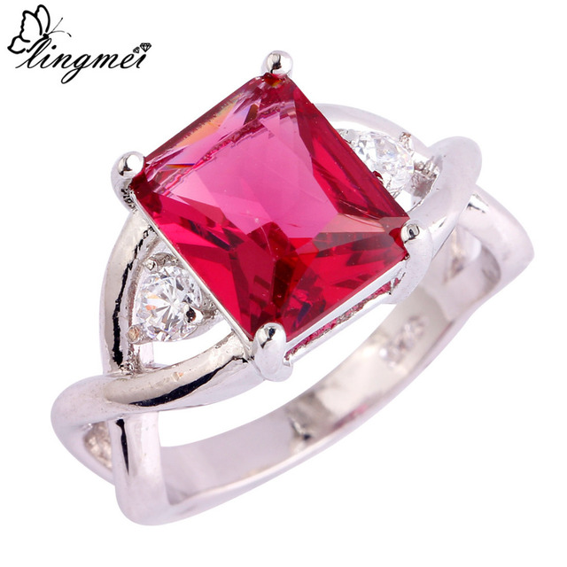 lingmei Big Promotion Wholesale Rectangle Cut Red & White Cubic Zircon Silver Ri