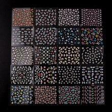 48 листов, 3D наклейки для ногтей, случайный цвет, черный, белый, 3 цветка, Бабочка, серия, стереоскопический стикер для ногтей, украшение