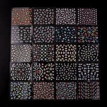 48 folhas 3d etiqueta do prego aleatório colorido preto branco 3 flor borboleta série estereoscópico etiqueta do prego decoração
