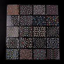 48 листов 3d наклеек для ногтей случайные цвета Черный Белый