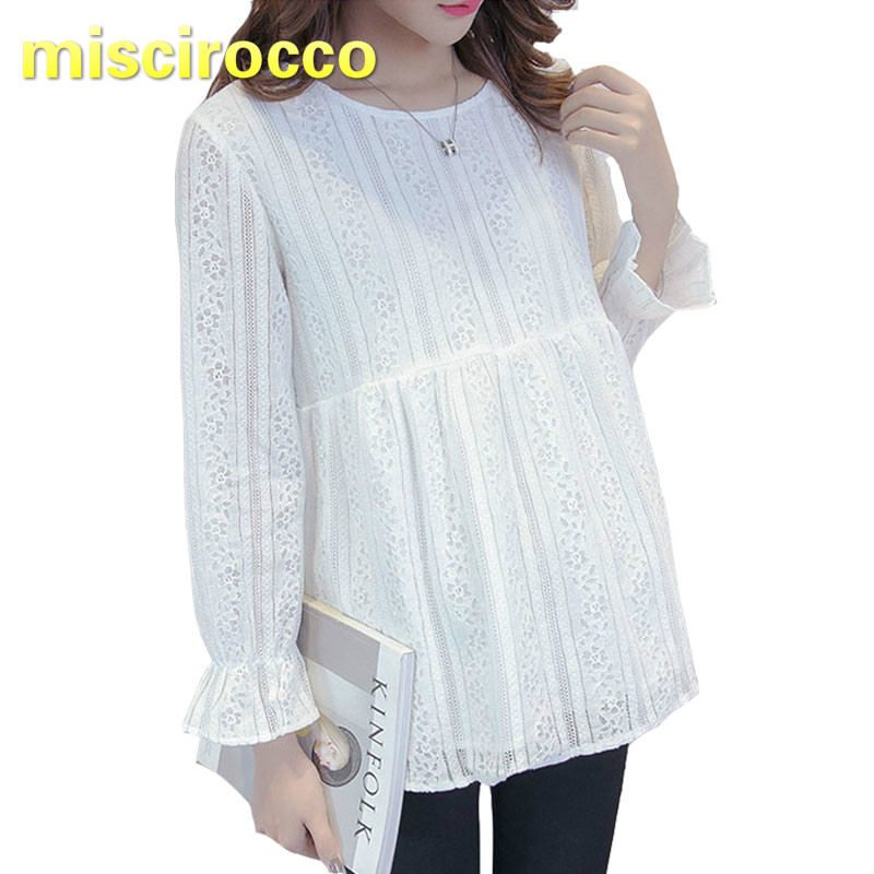 Maternity Clothing Lace Pregnant Women's Blouse Autumn Women's Top Round Neck Long Sleeve Base OL soft комплект постельного белья hobby home collection 2 х сп поплин juillet фуксия 1501000668