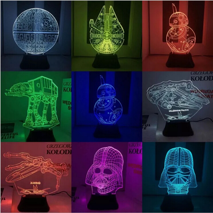 Funny Star Wars 7 BB8 Droid 3D Mini Bulding Night Light Toy 7Colors Change Visual illusion LED Lamp Darth Vader Best Price