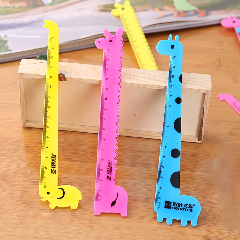 Cute animal small ruler 15cm scale Student cartoon ruler plastic animal toys baby early education toys