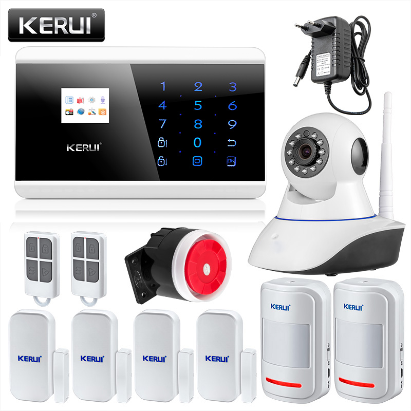 KERUI Android IOS APP control GSM PSTN Home Burglar Security Alarm System Russian Spanish French English Voice Alarm fashion denim backpack preppy style casual shoulders double shoulder bag schoolbag style blue x 59966
