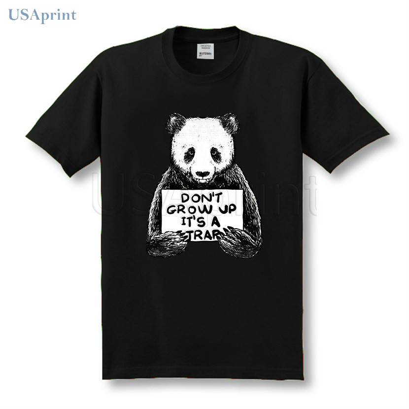41baeb2c1a38f USAprint Harajuku Panda T Shirts Men Don t Grow Up It s A Trap Funny ...
