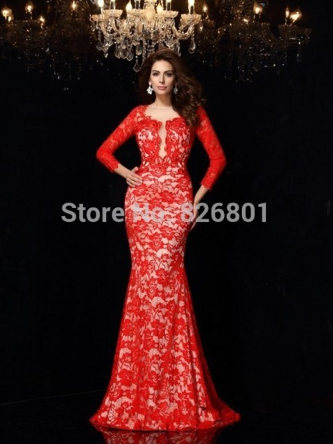 Aliexpress.com : Buy 2015 Open Back Red Lace Prom Dress Long ...