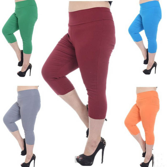 48cae63e8be Fashion Plus Size Leggings Big Size Capris Pants for Women Half Trousers  Summer Elastic High Waist Large Size Leggings Fashion