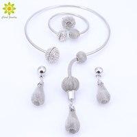 Nueva Moda Dubai Plateado Collar de Cristal Perlas Africanas Set Costume Acessorios Boda Nupcial Conjuntos de Joyas