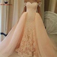 عالية الجودة موضة جديدة 2018 مستقيم انفصال تنورة الوردي الرباط فاخر فساتين الزفاف مسلم الزفاف أثواب مخصص الحجم WD412