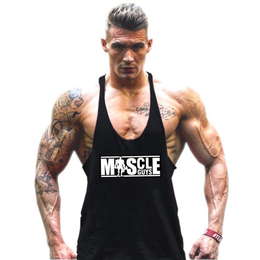 Muscleguys Bodybuilding   Tank     Top   Mens shirts Brand Clothing Fitness Men Singlet Sleeveless Cotton Workout Stringer Shirts