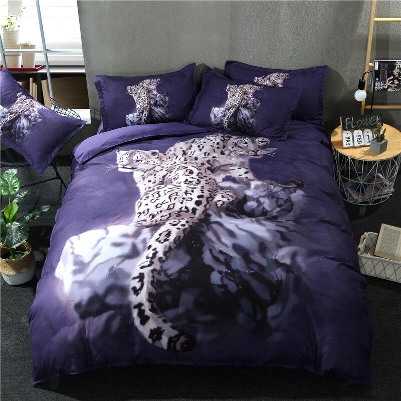 Ensemble de linge de lit léopard sauvage ensemble de literie 3D literie adulte chiffon de lit en microfibre bleu housse de couette ensemble pour reine roi