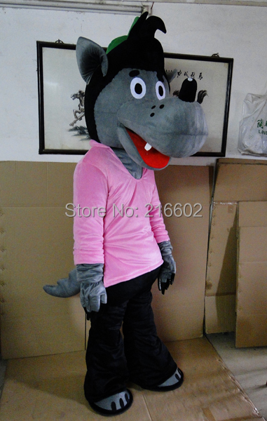 cosplay costumes Pink Clothes Wolf Mascot Costume Party Costumes Adult Size Fancy Dress Suit Free Shipping