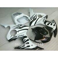 Подходит для YAMAHA R6 обтекатель комплект 2003 2004 2005 черное пламя в белый YZF R6 обтекатели комплект 03 04 05 полный комплект #116
