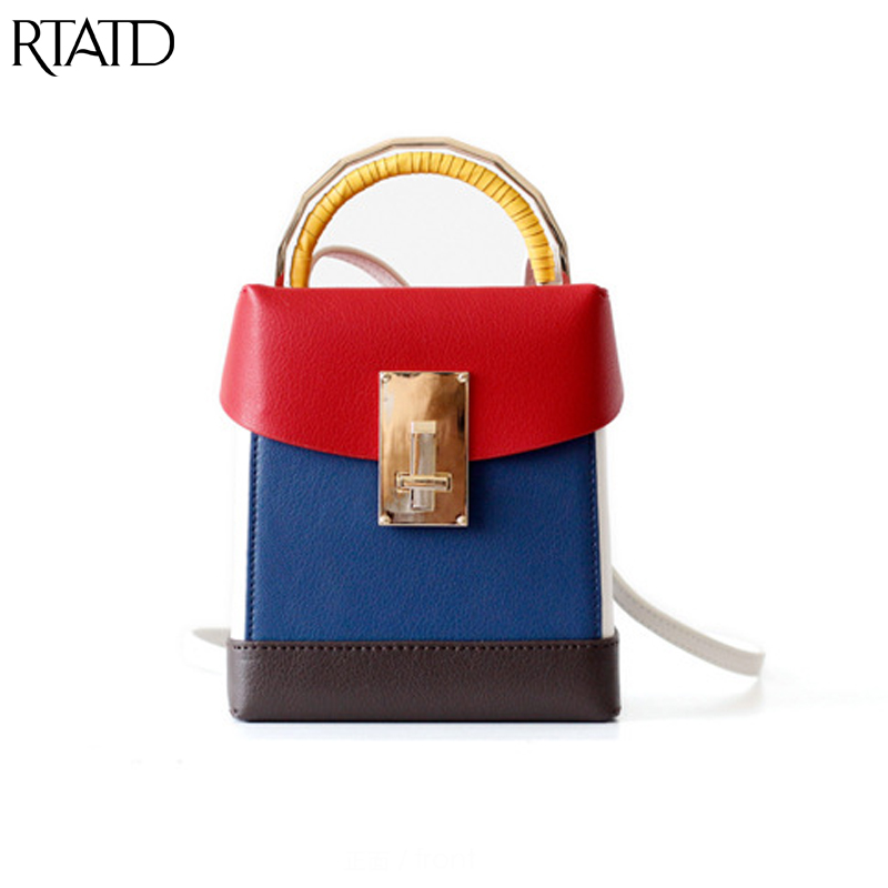 RTATD New Women Leather Handbags Flap Patchwork Small Size Tote For Lady Shoulder Bags Chic Fashion Lock Design Box Bag B312 chic mid waist button design ripped denim shorts for women