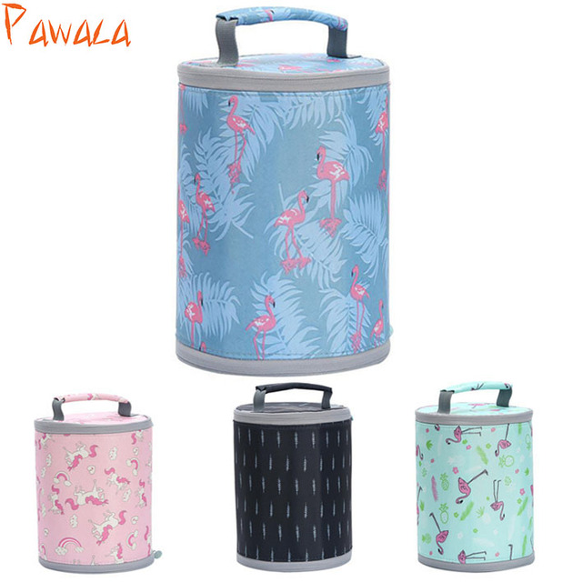 New Picnic Bag Fresh Insulation Lunch Bag Cold Bales Thermal Oxford Waterproof Portable Leisure Bag Cute Round Flamingo Tote