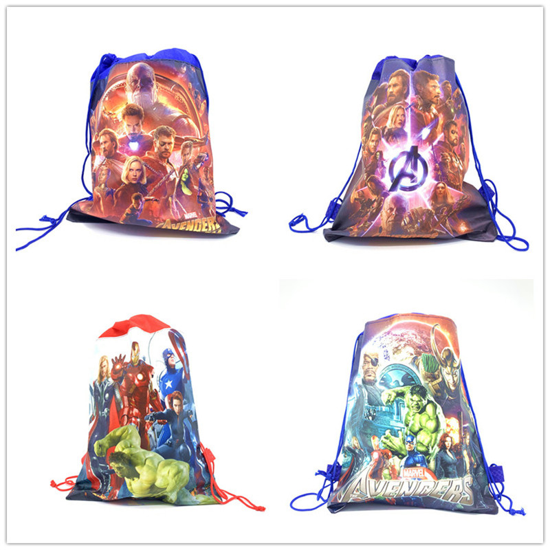 37*24cm Disney Avenger Baby Shower Non-woven Fabric Backpack Party Favor Child Boy School Bag Decoration Drawstring Bag