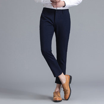 Limited Brand Clothing Men Casual Pants Spring Summer Mid Full Length New Fashion 2020 Slim Straight Man Trousers Plus Ankle 4