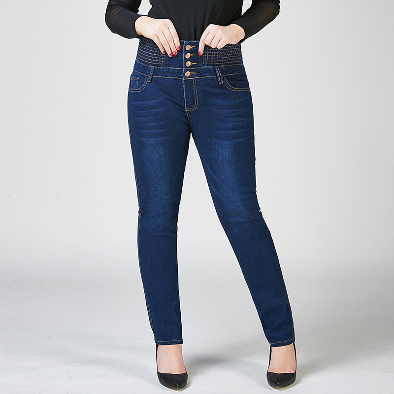 Large Size Female Stretchy Buttons Up Fly High Waist Elastic Band Tight Abdomen   Jeans   Women Pencil Feet Skinny   Jeans   S 8XL 10XL