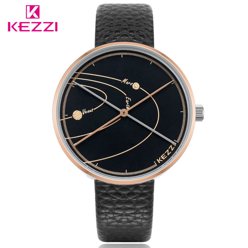 KEZZI Mens Quartz Watch Planet trajectory Dial Leather Strap Men Watches Personality pointer Analog Leather Wristwatch Man Clock