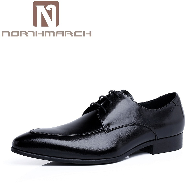 NORTHMARCH Mens Leather Footwear Casual UK Fashion Vintage Lace-Up Shoes Men Wedding Party Derby Shoes Black Chaussure Hommes кошелек calvin klein jeans calvin klein jeans ca939bwapqt1
