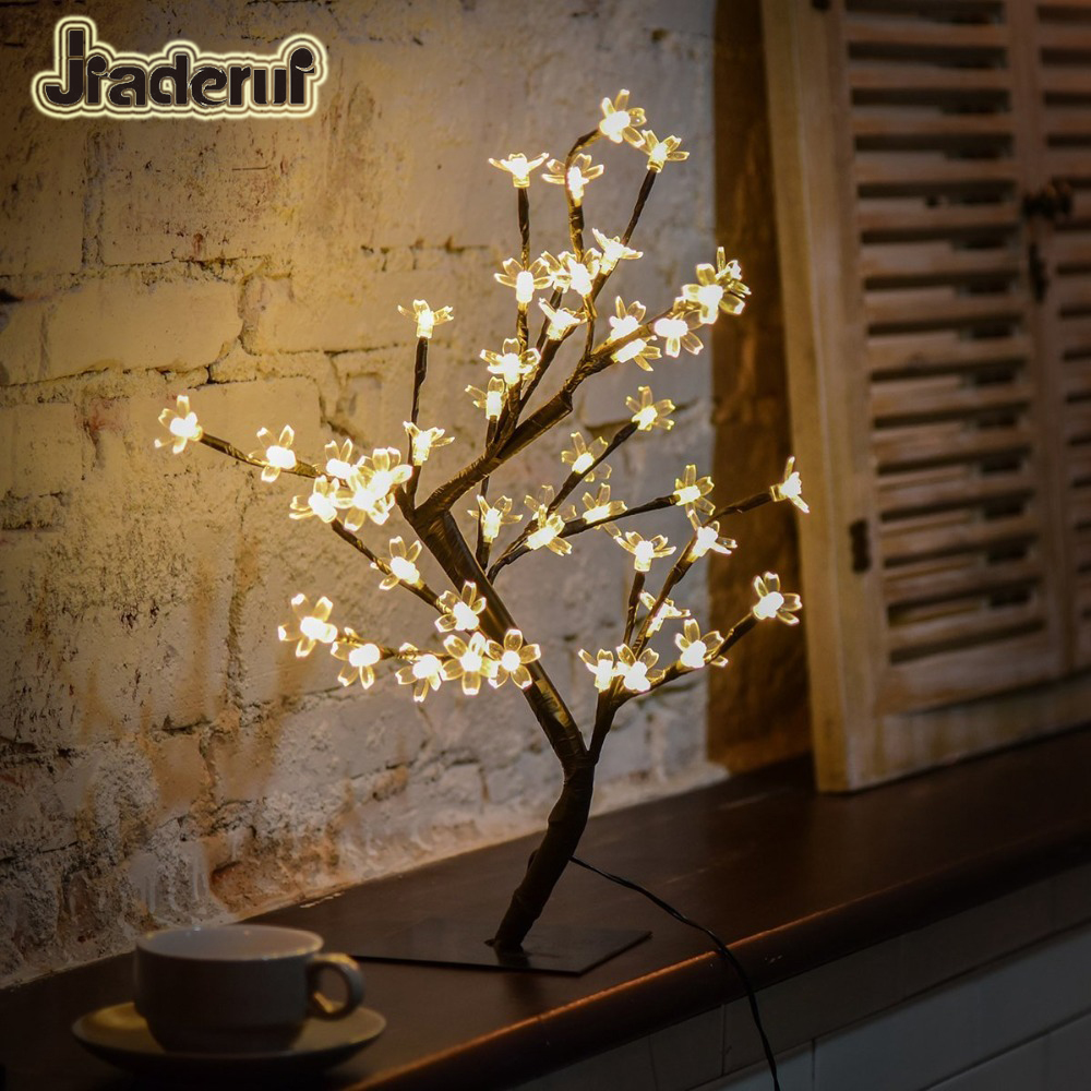 все цены на Jiaderui 40leds Cherry Blossom Desk Top Bonsai Tree Lights Holiday Home Christmas Wedding Party Indoor Decoration LED Table Lamp онлайн