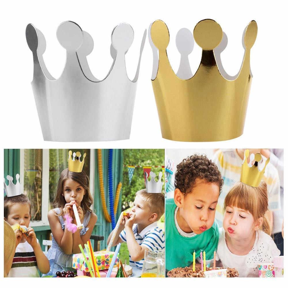 6 предмет; нижнее белье из хлопка для детей Birthday Crown Кепки вечерние Бумага торт Кепки (3 шт. цвета: золотистый + 3 шт. серебристый) корона принцессы декоративная бумага для вечеринок #4M19
