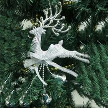 Серебристые золотые рождественские безделушки, Рождественские елочные украшения, вечерние подвесные украшения с оленями