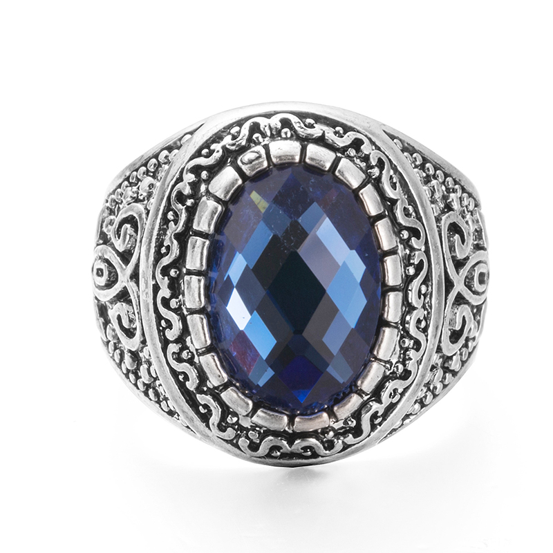 vagula vintage silver color rhinestone mens rings copper blue shine stone wedding rings for male s122 - Stone Wedding Rings