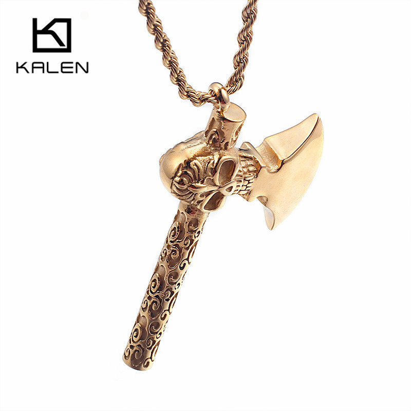 Kalen New Unique Hammer Necklace Men's 60cm Stainless Steel Gold Color Skull & Hammer Pendant Necklace Male Gothic Jewelry 2018(China)