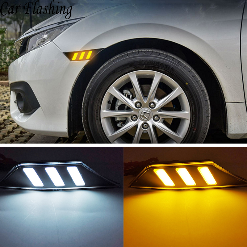 2Pcs LED Side Marker Lights DRL For 2016 2017 2018 10th Gen Honda Civic Sedan/Coupe/Hatchback Day Light Turn Signal Yellow Lamp