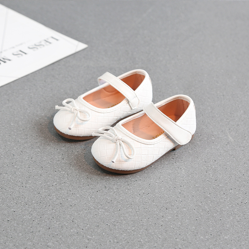 2018 Spring New Baby Girls Leather Shoes with Bow Toddlers Flat Shoes Bowknot Kids Moccasins Ballet Shoes White Red Size 21-30