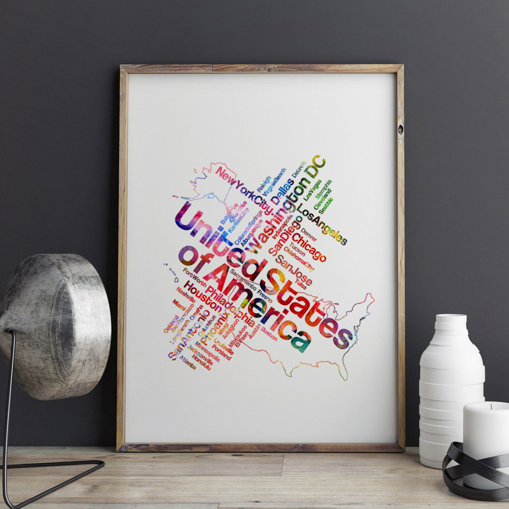US Map Watercolor Art Print Pictures Painting Colorful