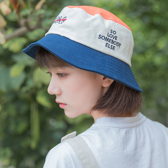 European and American wind bucket hats embroidered sun visor hat women  casual wild Korean fisherman hat 111579a414d