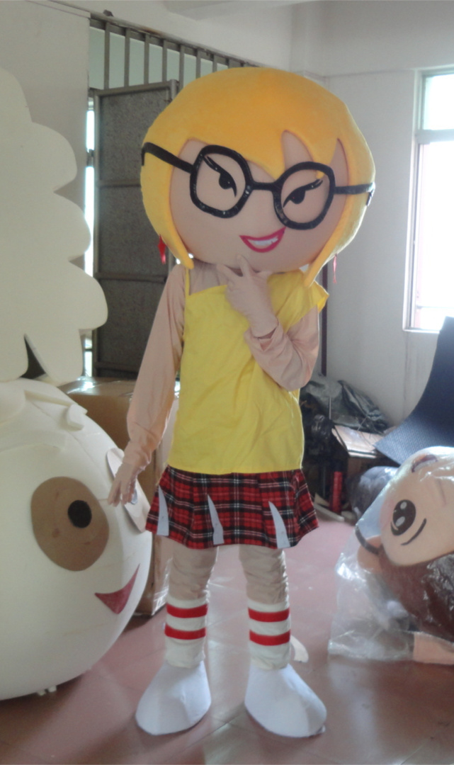 2017 high quality Attractive Girl with Glasses Mascot Costume Cartoon Character Mascot Outfit Suit Holiday special clothing