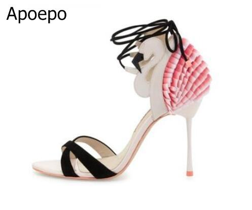 Woman Sandals 2018 Flamingo Frill Leather Summer High Heel Sandals Cut-out Ankle Lace-up Party Dress Shoes Big Size 10 Free Ship big size 10 cheap price name brand snake print leather lace up high heel sandals ankle tassel design cut out summer dress shoes