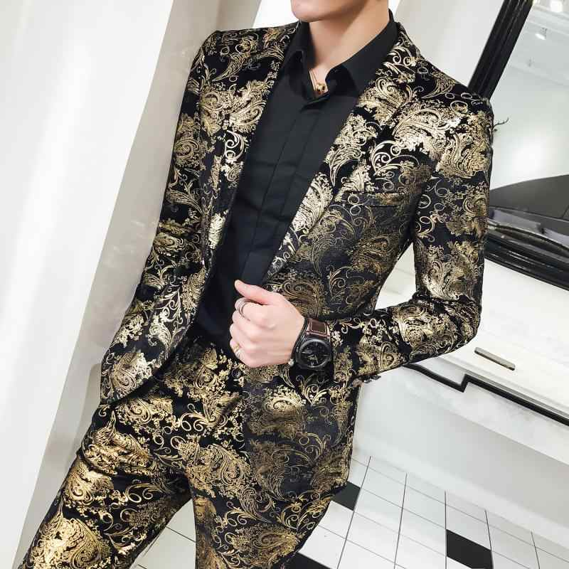 2019 新メンズツーピースセット高品質高貴なメンズスーツのジャケットとパンツサイズ S-5XL