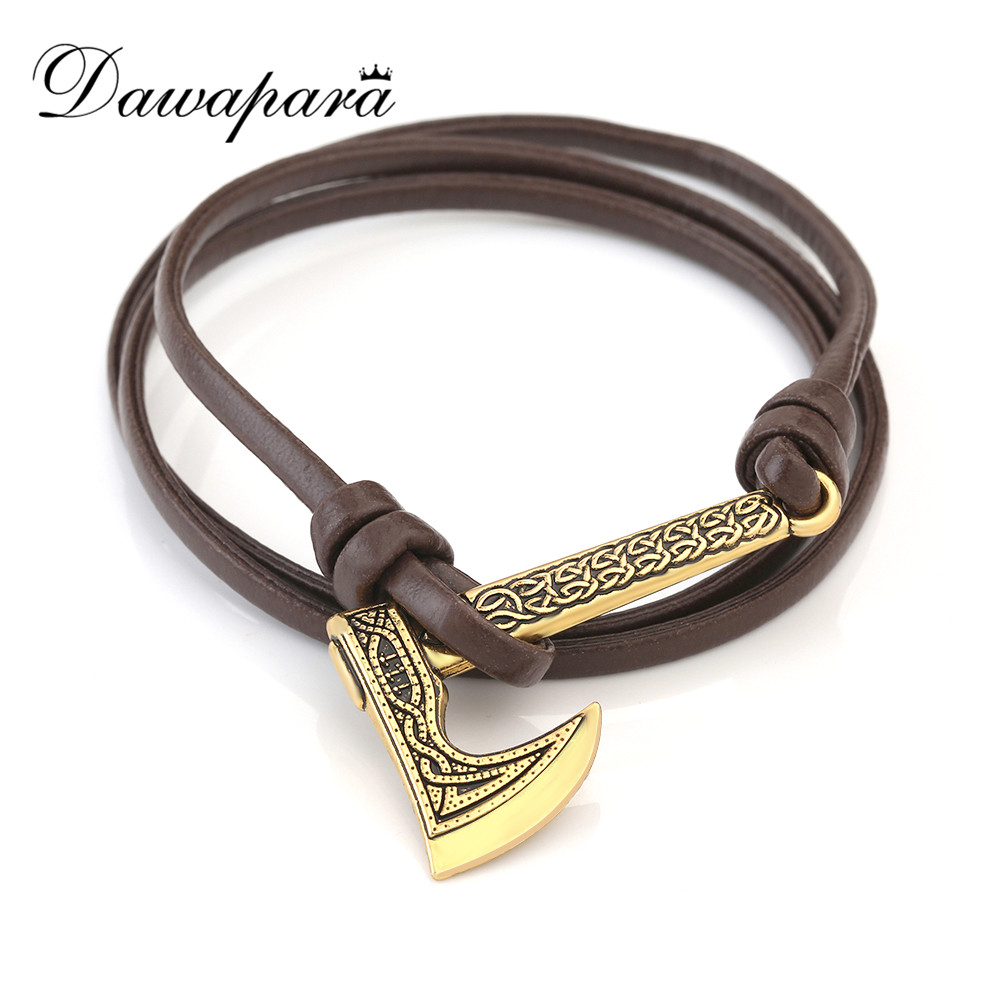 Brave Dawapara Viking Mammen Odin Symbol Rune Horror Slavic Peru Axe Amulet Talisman Mens Leather Bracelets Women Jewelry 2018 Bright In Colour