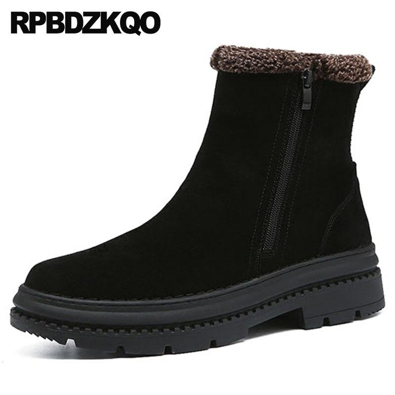 bb297f79 Casual Suela Zapatillas Moda Piel Zapatos Negro Tobillo On Slip De 2018  Black Top Botines 4 Cálidos Hombres ...
