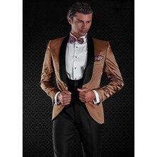 New Brown Men Suits Slim Groom Tuxedos High Quality Men Suits For Wedding Formal Occasion Gentlemen(Jacket+Pants+Vest) B986