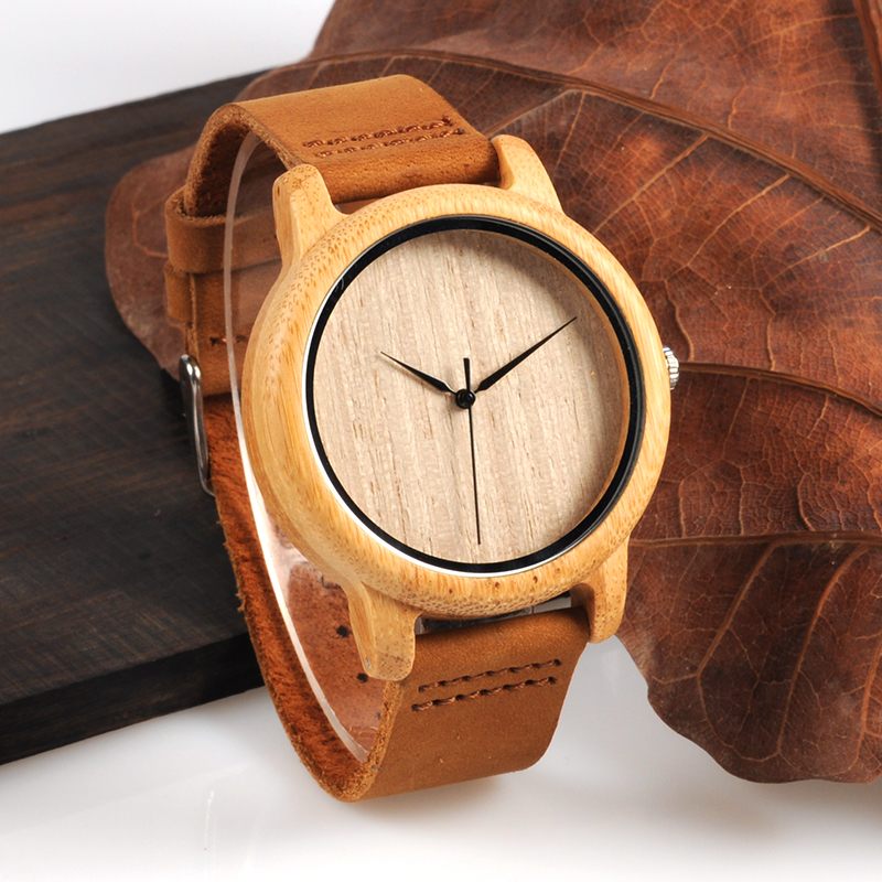 2017 BOBO BIRD Bamboo Watches for Men Quartz Ladies Wristwatches Genuine Leather Strap relogios masculinos B-A19